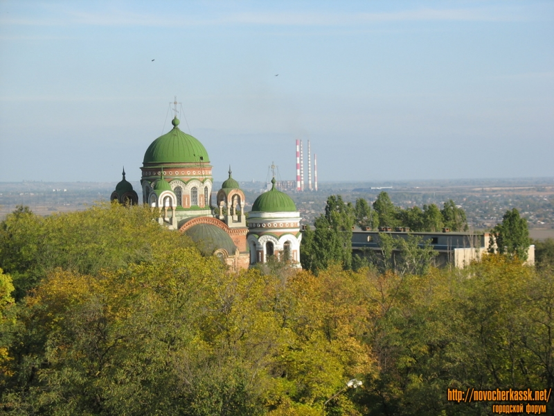 Вид с колеса обозрения в сторону ГРЭС и церкви Александра Невского