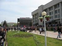 9 мая, парад на Платовском проспекте. Универмаг, Администрация города