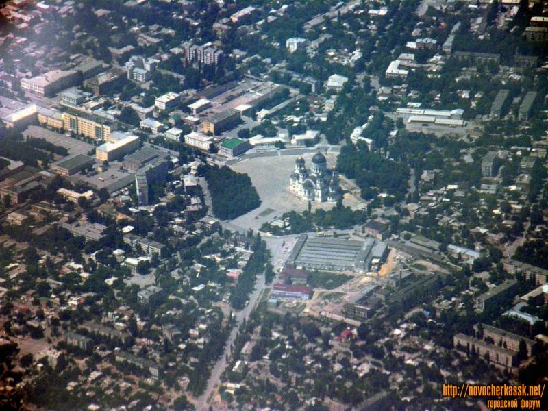 Вид на площадь Ермака с самолета