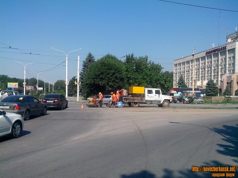Площадь Юбилейная. Ремонт пересечения с трамвайными путями.