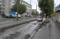 Замена бордюров и асфальта на улице Крылова