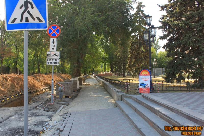 Замена тротуара по улице Просвещения