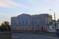 Площадь Ермака. Здание дворянского собрания. Закрыто баннером к семинару по благоустройству