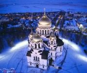 Собор в Новочеркасске вечером с воздуха