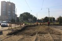 Замена трамвайного полотна на площади Юбилейной
