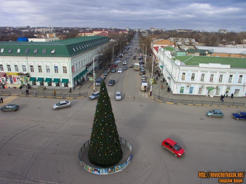 Ёлка перед памятником Платову и улица Московская