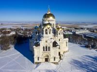 Собор в Новочеркасске с воздуха зимой