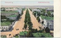 Вид с собора на Платовский проспект. Раняя открытка, видны строения на соборной площади