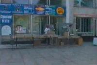 Продажа аудиокассет и CD-дисков перед Домом Быта, улица Московская
