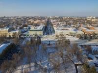 Сквер перед Атаманским дворцом и панорама улицы Московской