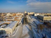 Центр города. Вид на Платовский проспект и собор